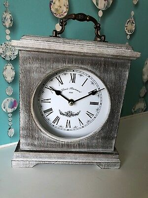 vintage Washed Wood Mantle Clock Rustic Roman number table Clock 23cm new