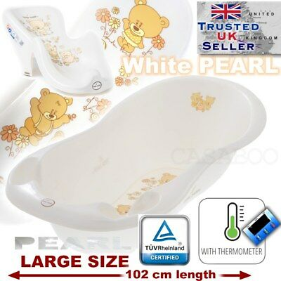 SET LARGE 102cm  BABY BATH TUB with therm drain + SUPPORT SEAT chair WHITE TEDDY