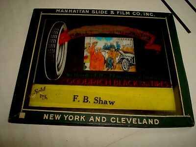 Antique Goodrich Black Safety Tread Tire Magic Lantern Glass Slide F. B. Shaw