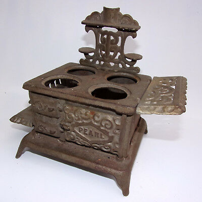 Antique Cast Iron Toy Doll House Stove PEARL