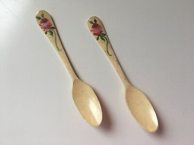 Pair Of Antique Bone Spoons Floral Painted