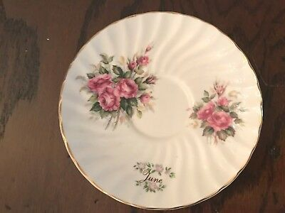 Staffordshire Collection Fine English Bone China Small Plate w/Month of June