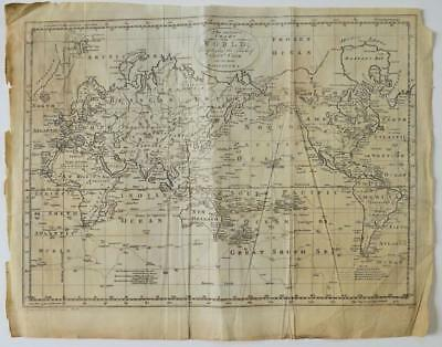 OLD 18th CENTURY WORLD MAP DISPLAYING TRACKS of CAPTAIN COOK Engraved by T BROWN