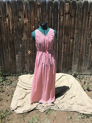 Vintage Pink Nylon Full Length Night Gown