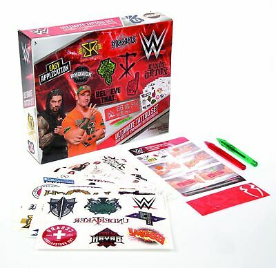 WWE Ultimate Tattoo Set 10 Temporary Tattoo Sheets & Gel Pens New Genuine 7+