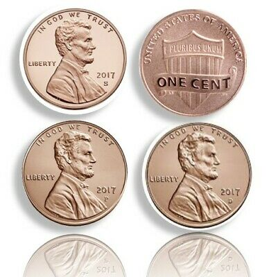 2017 S,P,D 1C Lincoln Proof DCAM New P Mint Mark 2017 Proof S P,D And Enhanced