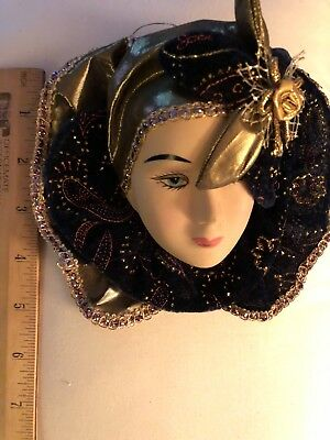 Beautifully Colorful & Perfect Porcelain Female Face Decoration W/Hat & Collar