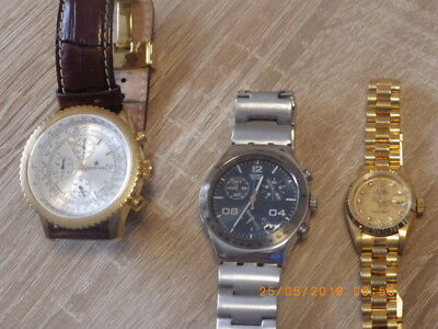 2 x Herren Chrono ,Swatch Irony Inox-137gr!!+Pionier Germany + Gold Damenuhr