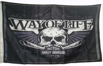 Harley Davidson Way Of Life Skull Logo Flag Banner Poster Tapestry Garage 3x5 ft