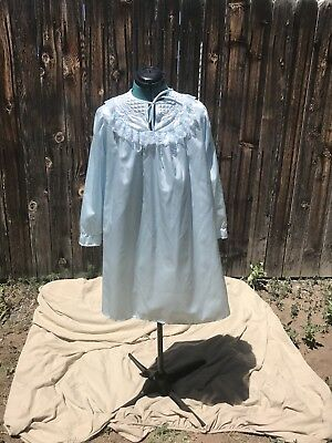 Vintage 1960's Merville Cotton Back Satin Night Gown Pale Blue with Quilted Yoke