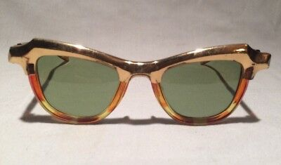 Vintage 50s Grantly -O Sunglasses Tortoise & Gold Made In USA Very Rare Horn