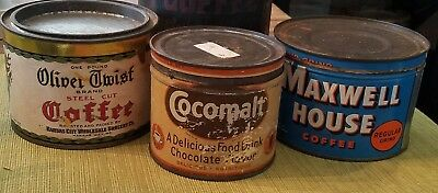 Assortment of Vintage Coffee Tin Cans