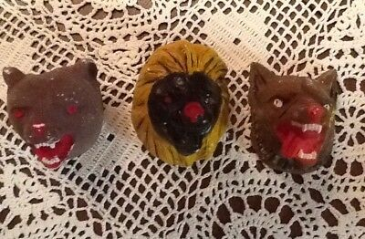 VINTAGE BOY SCOUT *CUB SCOUT  PLASTER CRAFT WOLF, BEAR, LION HEAD LOT* Of 3