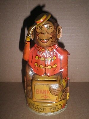 Very nice old original tin Tip of the Hat Monkey mechanical bank by Chein 1930's