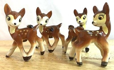 Antique Bambi Deer Salt & Pepper Shakers Two Sets