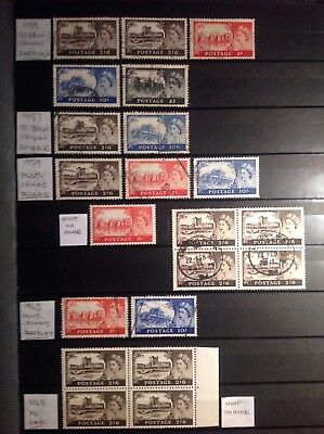 GB ELIZABETH II CASTLE SERIES, high values mint and used, 1955-1968