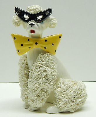 Vintage ceramic spaghetti poodle yellow bow tie black eye glasses AS IS