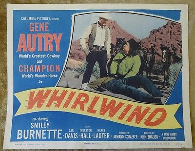 WHIRLWIND 1951 Original 11x14 Movie Poster Lobby Card, GENE AUTRY & CHAMPION