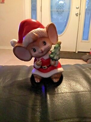 Homco Christmas Mouse Wearing Santa Suit Holding Tree Whimsical Porcelain #5405