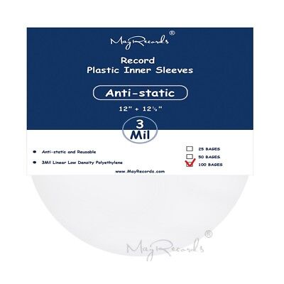 100 Clear Antistatic 3 Mil Plastic Vinyl Record Inner Sleeves For 12'' LP LD