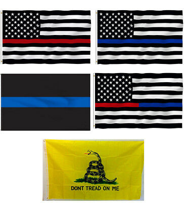 3x5ft Thin Blue Red Line American Flag Police Law Firefighter Don't Tread On Me