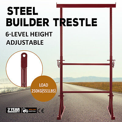 6 Level Height Adjustable Steel Builder Trestle Anti-Drop Pins Extendable Home