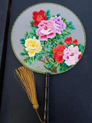 3D Lifelike Double sided Handmade Embroidery Silk Hand Fan