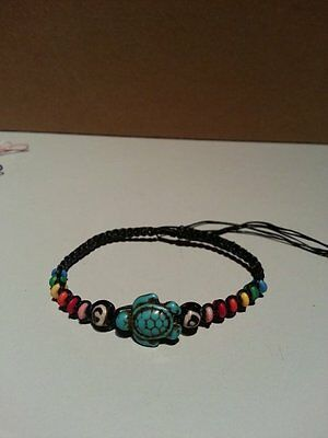 Handcrafted Carved Turquoise Howlite Turtle Bracelet PRIDE