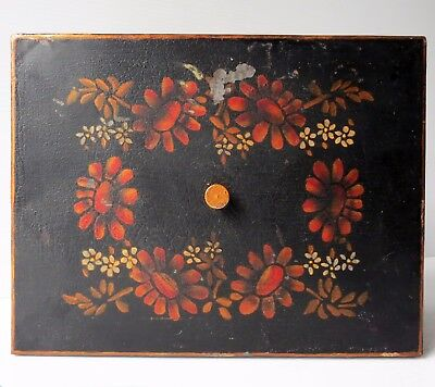 Antique TOLE PAINTED METAL DOCUMENT BOX