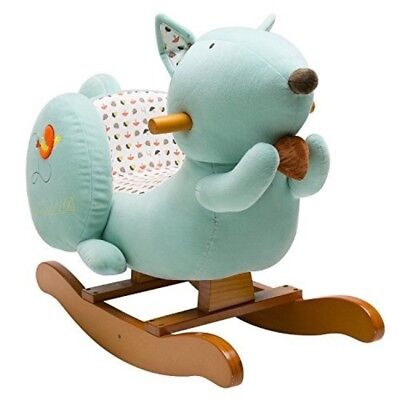 Labebe Child Rocking Horse Toy, Stuffed Animal Rocker Toy, Blue Squirrel Plush R