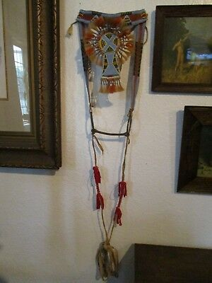 Antique Crow Beaded Parade Horse Headstall Bridle