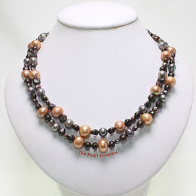 Beautiful Double Strands Champagne Cultured Pearl Necklace; 925 Silver Clasp TPJ