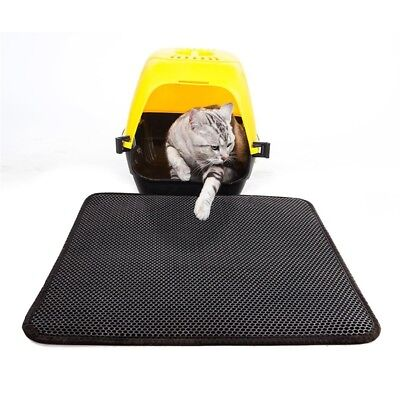 Double-Layer Honeycomb Cat Feeding Mat Placemat Litter Trapping Waterproof 46X60