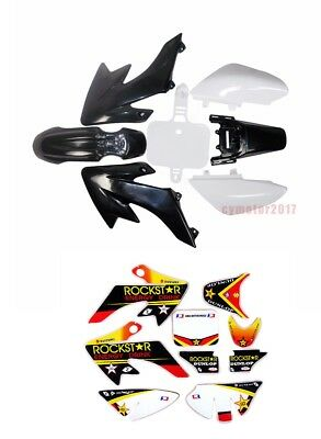 Black+White Plastics Fender & Stickers Set Pit Bike 70/90/110/125cc ATOMIK CRF50