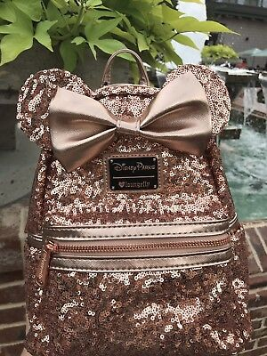 Disney Loungefly Rose Gold Backpack Minnie Mouse Bow Pink Sequins New Purse Bag