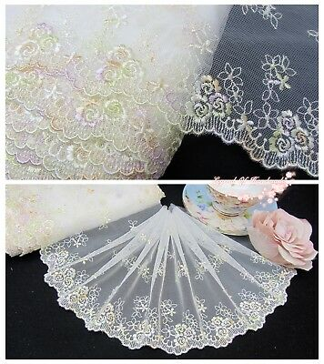 "7""*1Y Embroidered Tulle Lace Trim~White+Lt. Yellow+Lt. Purple~Sweet Childhood~"