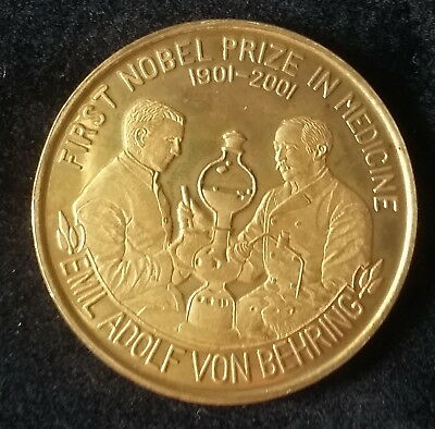2001 Korea, 1 Won, First Nobel Prize Winner, Emil von Behring, Proof, Scarce !!