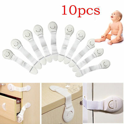 2/7/10Pcs Adhesive Baby Child Pet Proof Cupboard Door Drawer Safety Lock Catch
