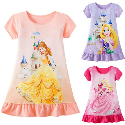 Toddler Kid Baby Girls Rapunzel Belle Aurora Princess Print Summer Party Dress A