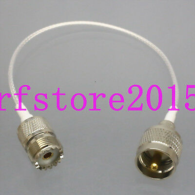 "RG316 8"" PL259 to SO239 M/F ~ CB Ham Radio U/V Antenna RF Teflon Extension Cable"