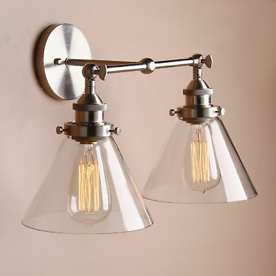 Retro Industrial Clear Glass Single/Double Arm Rustic Sconce Brushed Wall Light