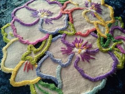 Sweet Colourful Pansies  ~ Vintage Hand Embroidered & Cut-work Doily