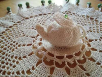 Charming Vintage Hand Crochet Beaded Cover - Crochet TEAPOT & LID Sitting Atop