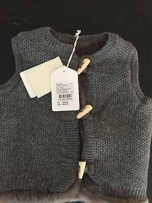 Country Road Baby Girl Grey Fur Lined Vest - 12-18 Months BNWT RRP$69.95