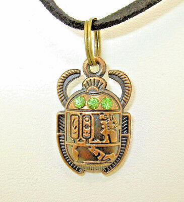 New  Egyptian  SCARAB  Beetle with green crystals Copper-tone Pendant  Necklace