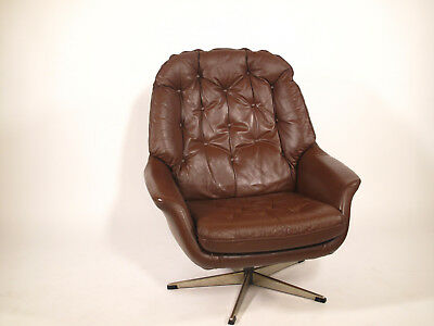Fauteuil scandinave cuir - Danish leather armchair  design vintage