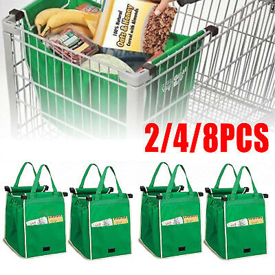 2/4/8Pc Foldable Shopping Bags Reusable Eco Grocery Cart Trolley Bag with Handle