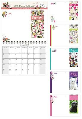 2019 Memo Calendar with Shopping Pad List and Pen Hanging Wiro Family Organiser