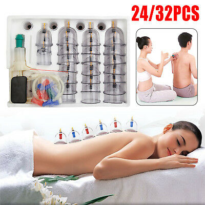 24/32 Cups Vacuum Cupping Set Massage Acupuncture Suction Massager Pain Relief