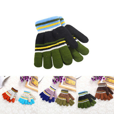 New 6~12y Knitted & Finger Mittens Warm Thick Soft Girls Gloves Winter Children